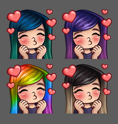 Emotion icons happy female kisses vector