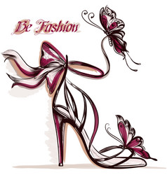 Fashion with elegant female sandals with high heel vector