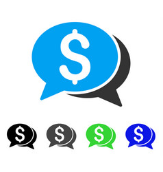 Financial chat flat icon vector