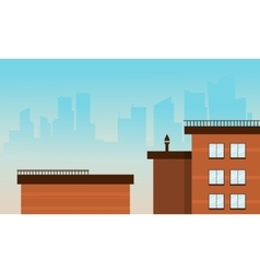 Flat cartoon style city buildings vector