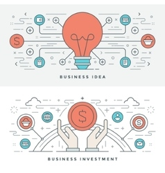 Flat line Business Idea and Investment vector image