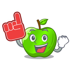 Foam finger green smith apple isolated on cartoon vector