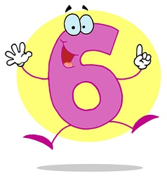 Funny Cartoon Friendly Number 6 Six Guy vector image