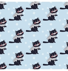 Funny Cats Seamless Pattern in Flat Design vector image