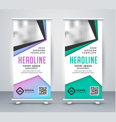 geometric business roll up banner template vector image