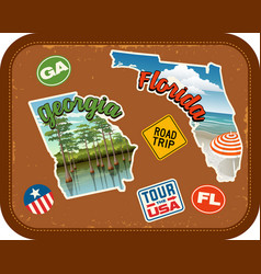 georgia florida travel stickers vector image