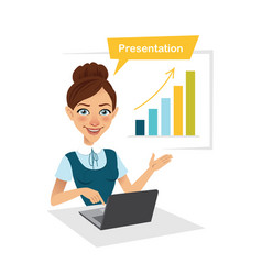 girl is showing process of profit growth on chart vector image