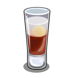 Glass bar cordial with cocktail with egg vector