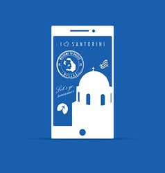 Greek island santorini paradise on mobile phone on vector