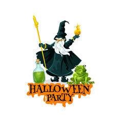 halloween party festive badge with evil wizard vector image