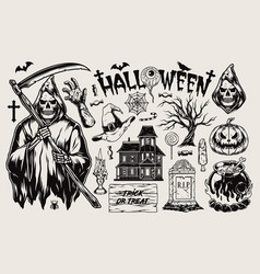 halloween vintage monochrome composition vector image