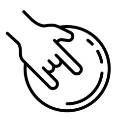hand bowling ball icon outline style vector image