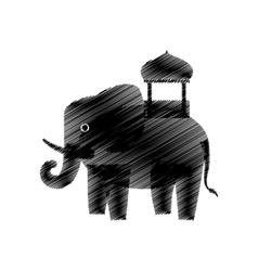 Hand drawing elephant standing icon vector