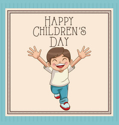 Happy children day card cute boy smiling cheerful vector