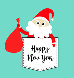 Happy new year santa claus holding carrying sack vector