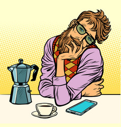 Hipster man morning coffee vector