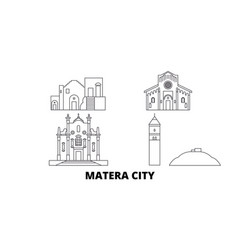 Italy matera city line travel skyline set italy vector