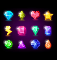 Jewelry gems set magic stone with sparkles vector