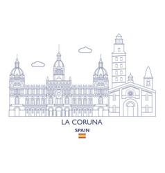 la coruna city skyline vector image