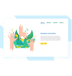 Landing page template with hands holding coins vector