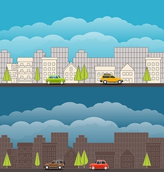 Landscape with the modern city vector