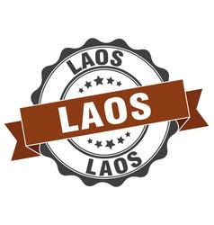 laos round ribbon seal vector image