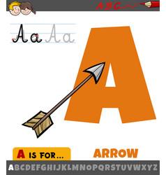 Letter a from alphabet with cartoon arrow object vector