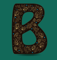 Letter b with golden floral decor vector