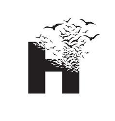 Letter h with effect destruction dispersion vector