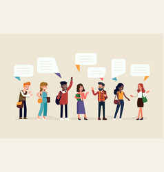 line-up talking people vector image