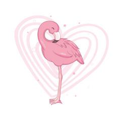 Love flamingo postcard vector