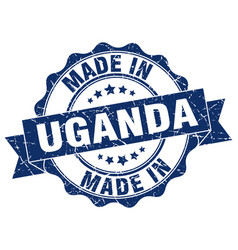 made in uganda round seal vector image