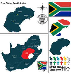 Map of free state south africa vector