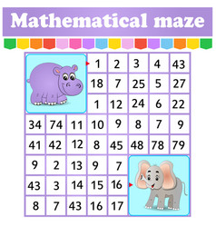 mathematical rectangle maze hippo and elephantl vector image