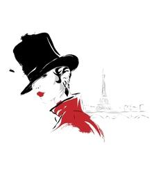 Modern girl in paris sketch vector