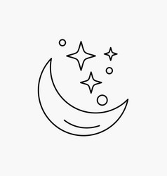 moon night star weather space line icon isolated vector image