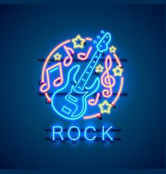 neon label music rock banner vector image