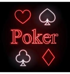 neon sign Poker vector image