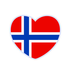 norway flag in a shape heart icon flat heart vector image