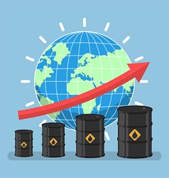Oil barrels and growth graph with wolrd vector image