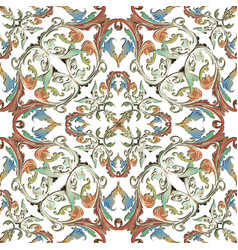 ornamental colorful baroque seamless pattern on vector image
