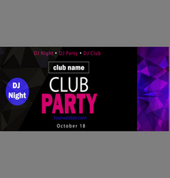 party flyer poster futuristic club flyer design vector image