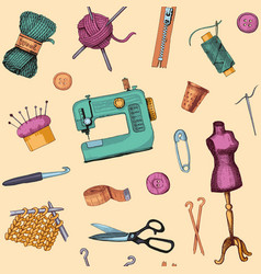 Pattern with sketches of sewing and knitting vector