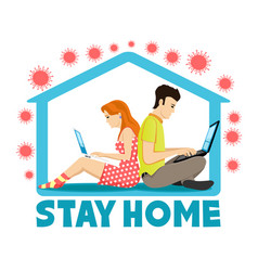 People working at home vector