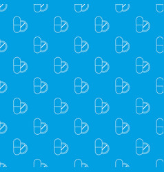 pill and tablet pattern seamless blue vector image