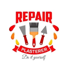 Plasterer pepair badge sign with work tool icon vector