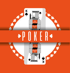 Poker card king spade banner orange background vector