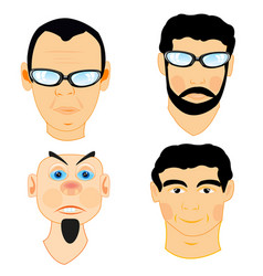 Portraits of the mans on white vector