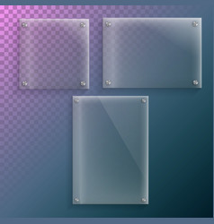 realistic glass plate mockup set vector image
