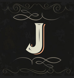 Retro style western letter design letter j vector